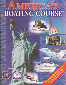 Picture of the Book cover which has numerous pictures of water activiies such as Boating, riding a PWC, water skiing and sailing. It also has a picture of the Statute of Liberty and the Words, America's Boating Course